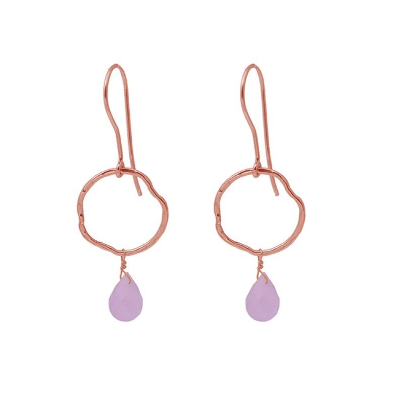 Drops Shape Rose Chalcedony Gemstone 925 Silver Jewelry Dangle Earrings