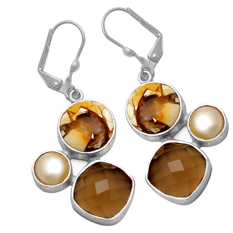 Smoky Quartz Pearl Brecciated Mookaite Gemstone 925 Sterling Silver Gold Plated Clip-On Earrings