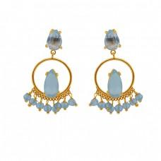 Blue Topaz Aqua Chalcedony Gemstone 925 Silver Jewelry Stud Dangle Earrings