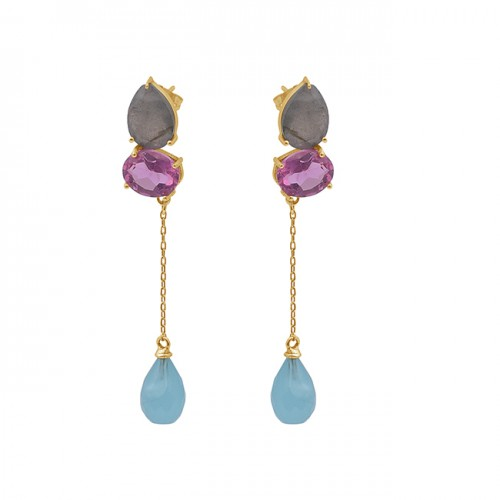 925 Sterling Silver Jewelry Gemstone Gold Plated Chain Dangle Earrings