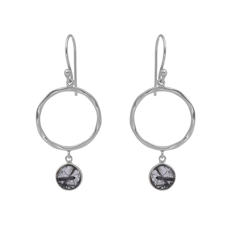 Black Rutile Quartz Gemstone 925 Sterling Silver Jewelry Dangle Earrings