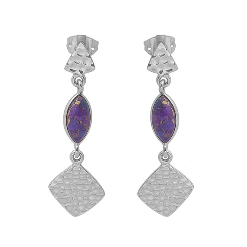 Marquise Purple Copper Turquoise Gemstone 925 Silver Gold Plated Earrings
