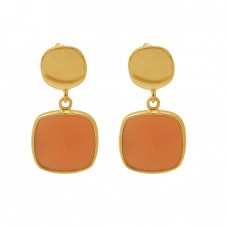 Cushion Shape Carnelian Gemstone 925 Silver Jewelry Stud Dangle Earrings