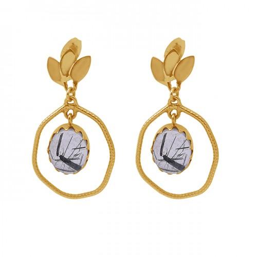 Oval Shape Black Rutile Quartz Gemstone 925 Silver Jewelry Stud Earrings