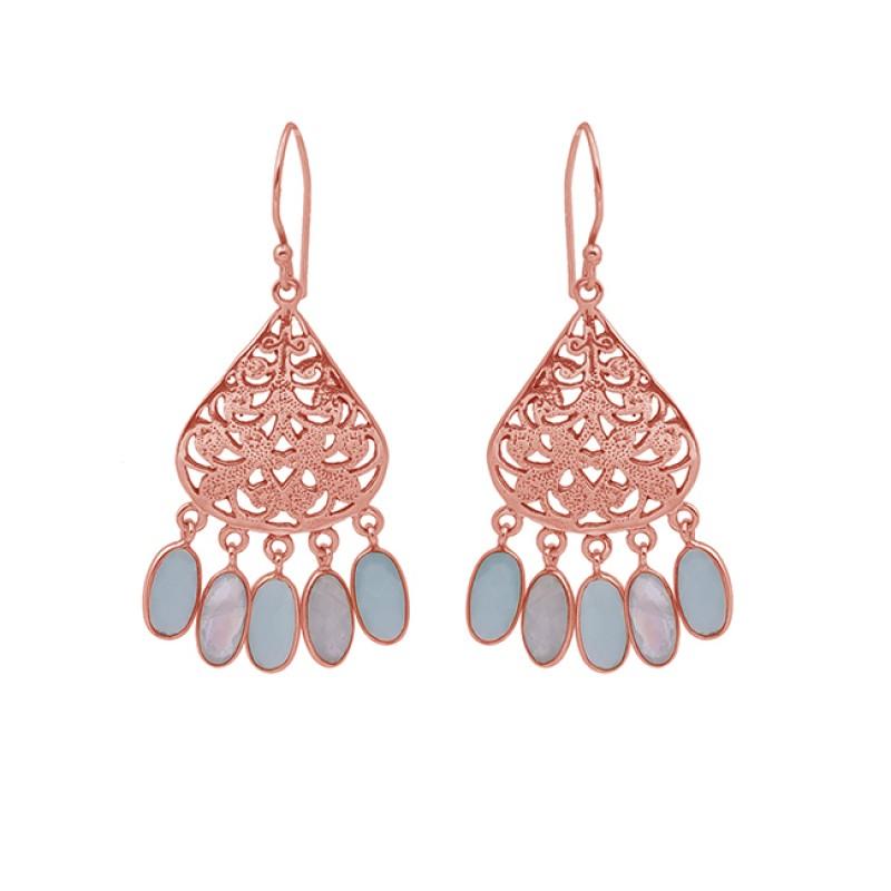 Oval Shape Moonstone Chalcedony 925 Sterling Silver Jewelry Earrings