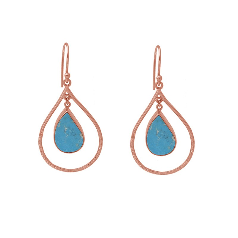 Pear Shape Turquoise Gemstone 925 Silver Jewelry Gold Plated Earrings