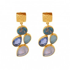 925 Sterling Silver Jewelry Mulit Color Gemstone Gold Plated Stud Earrings
