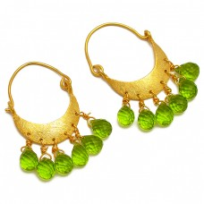 Dangling Pear Drops Shape Peridot Gemstone Handcrafted Gold Plated Hoop Earrings
