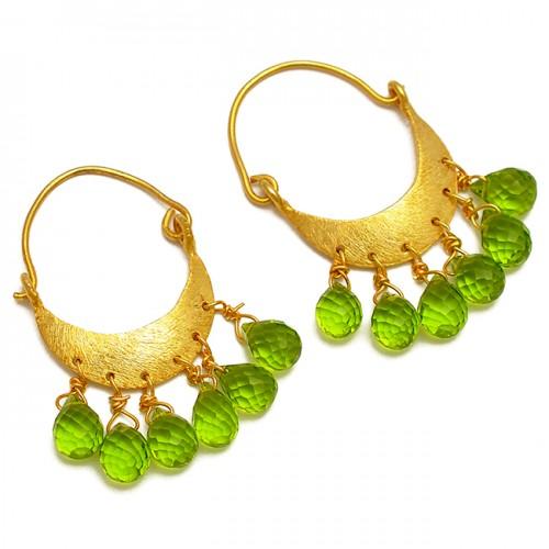 Dangling Pear Drops Shape Peridot Gemstone Handcrafted Gold Plated Hoop Earrings