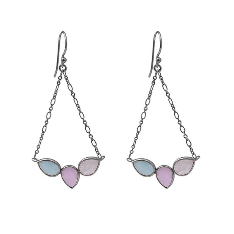 Pear Shape Moonstone Chalcedony 925 Silver Jewelry Dangle Earrings