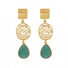 Pear Shape Green Onyx Gemstone 925 Silver Jewelry Gold Plated Earrings
