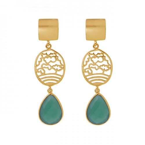 Pear Shape Green Onyx Gemstone 925 Silver Jewelry Gold Plated Earrings