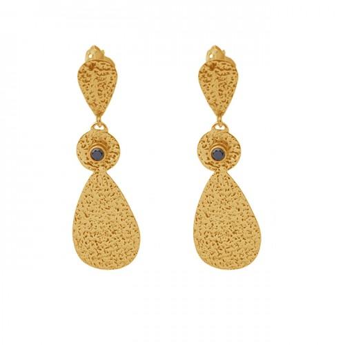 Round Shape Black Onyx Gemstone 925 Sterling Silver Jewelry Stud Earrings