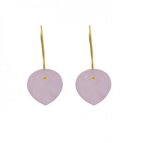 Heart Shape Rose Quartz Gemstone 925 Silver Jewelry Gold Plated Earrings