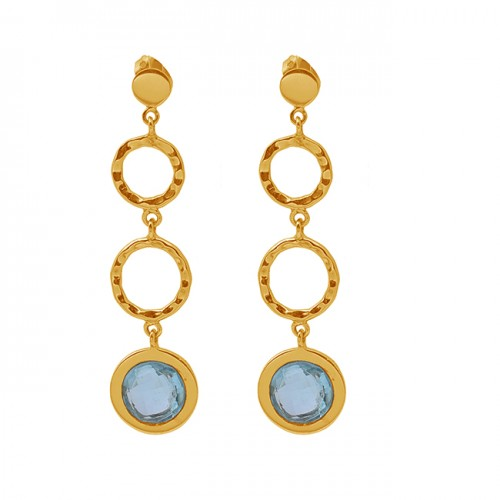 Round Blue Topaz Gemstone 925 Sterling Silver Jewelry Gold Plated Earrings
