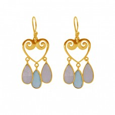 925 Sterling Silver Jewelry Pear Shape Gemstone Gold Plated Dangle Earrings