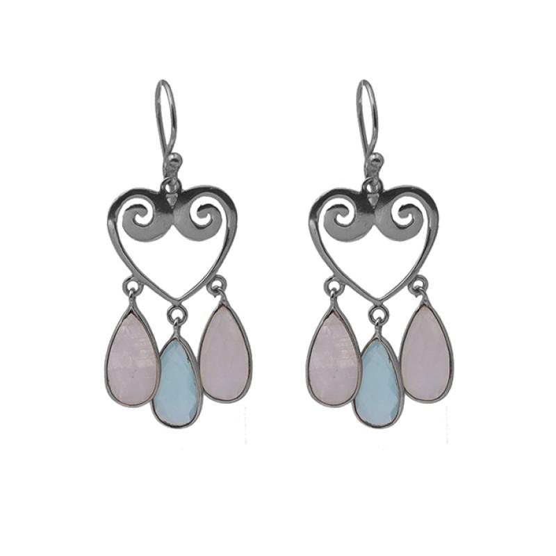 925 Sterling Silver Jewelry Pear Shape Gemstone Gold Plated Dangle Earrings