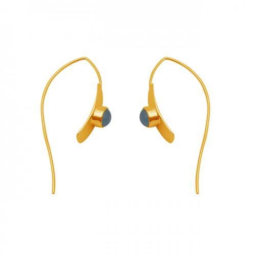 Aqua Chalcedony Gemstone 925 Silver Jewelry Gold Plated Earrings
