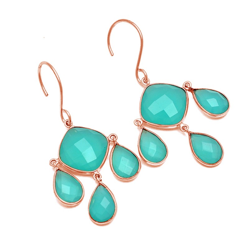 Bezel Setting Designer Aqua Chalcedony Gemstone 925 Sterling Silver Handcrafted Gold Plated Earrings