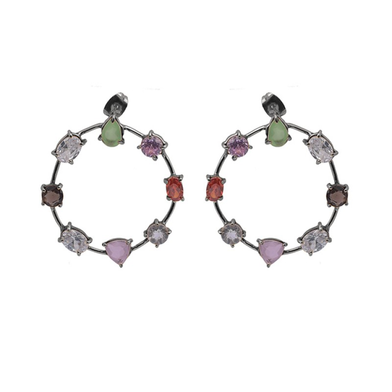 Prong Setting Multi Color Gemstone 925 Silver Jewelry Stud Dangle Earrings