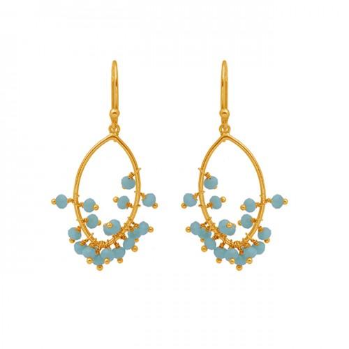 Beads Shape Aqua Chalcedony Gemstone 925 Silver Jewelry Earrings