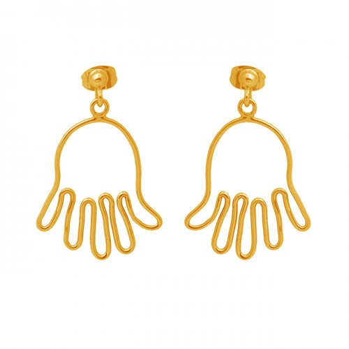 925 Sterling Silver Jewelry Plain Handmade Gold Plated Stud Earrings