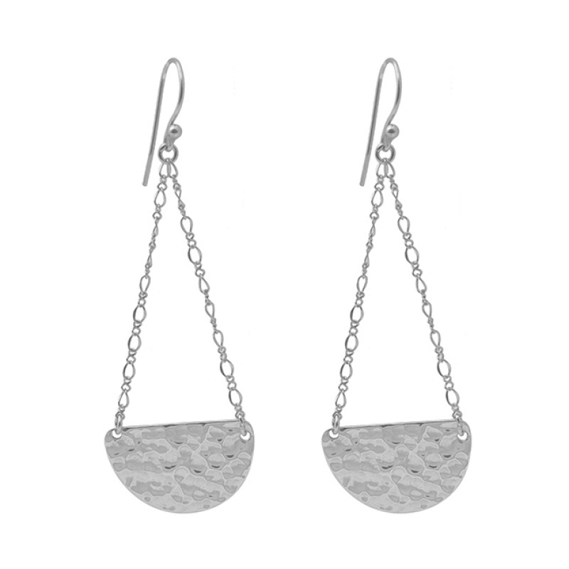 Handmade Plain Chain 925 Sterling Silver Jewelry Gold Plated Earrings