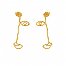 925 Sterling Silver Jewelry Eye Shape Plain Gold Plated Stud Earrings