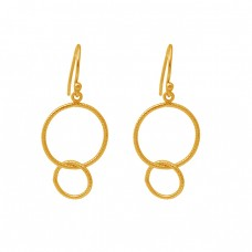 925 Sterling Silver Jewelry Plain Simple Gold Plated Ear Wire Earrings