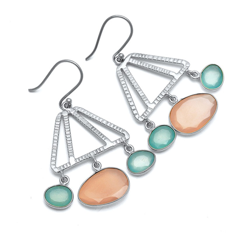 Handmade 925 Sterling Silver Aqua Rose Color Chalcedony Dangling Gold Plated Earrings