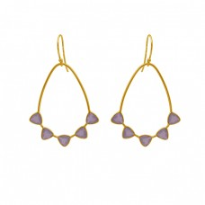 Triangle Shape Rose Quartz Gemstone 925 Silver Jewelry Gold Plated Earrings