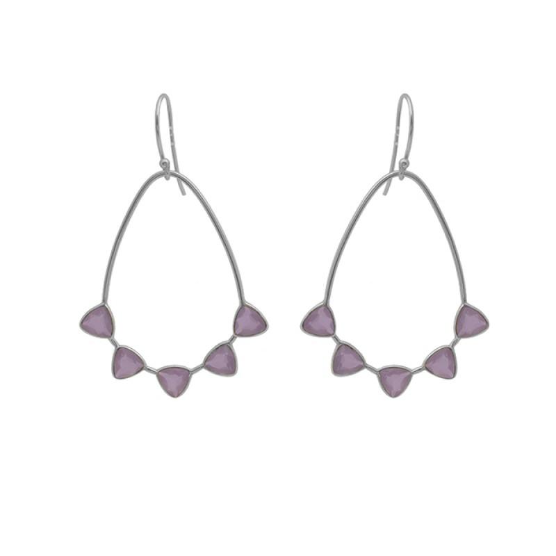 Triangle Shape Rose Quartz Gemstone 925 Silver Jewelry Gold Plated Earrings