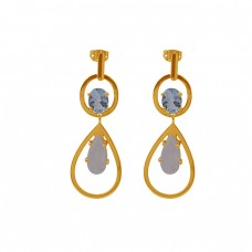 Topaz Moonstone 925 Sterling Silver Jewelry Gold Plated Stud Earrings