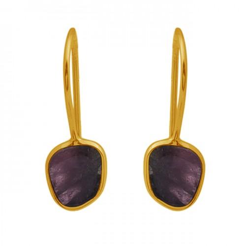 Multi Tourmaline Gemstone 925 Sterling Silver Jewelry Gold Plated Earrings