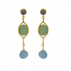 925 Sterling Silver Jewelry Gemstone Handmade Designer Stud Earrings