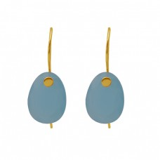 Oval Shape Blue Chalcedony Gemstone Earrings 925 Silver Jewelry