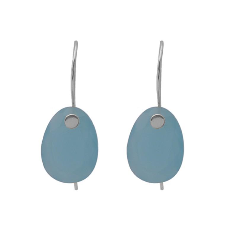 Oval Shape Blue Chalcedony Gemstone Earrings 925 Silver Jewelry