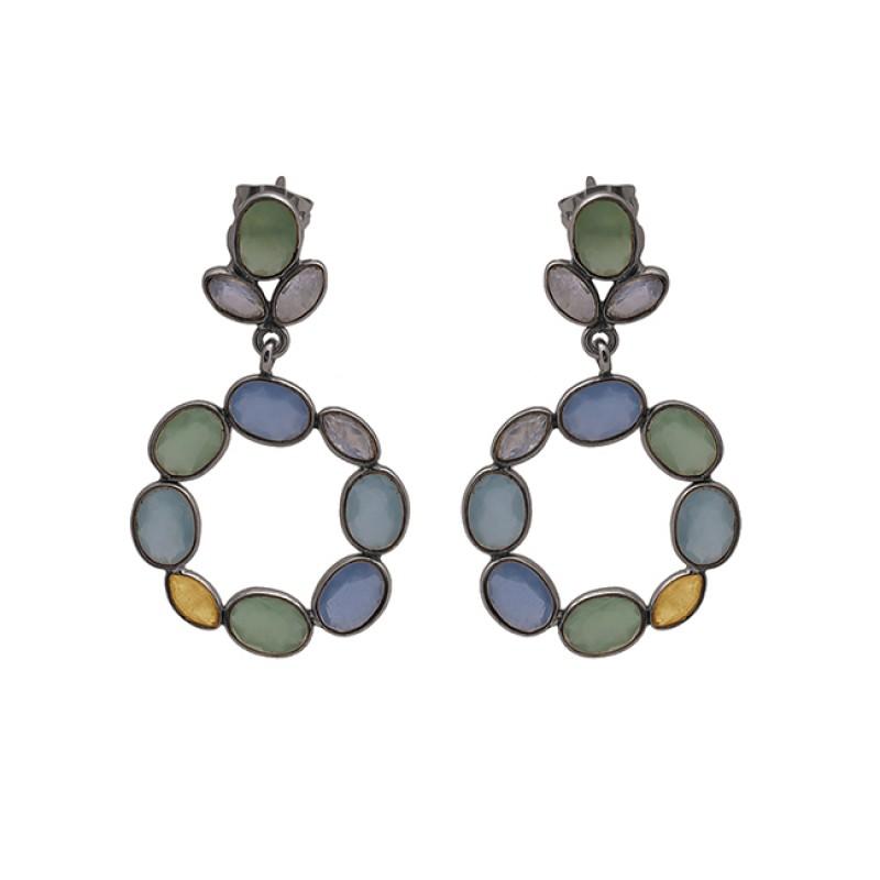 Oval Marquise Shape Gemstone 925 Sterling Silver Jewelry Earrings