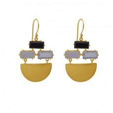 Rectangle Shape Onyx Moonstone Quartz Gemstone 925 Silver Jewelry Earrings