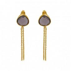 Smoky Quartz Gemstone 925 Sterling Silver Jewelry Chain Earrings