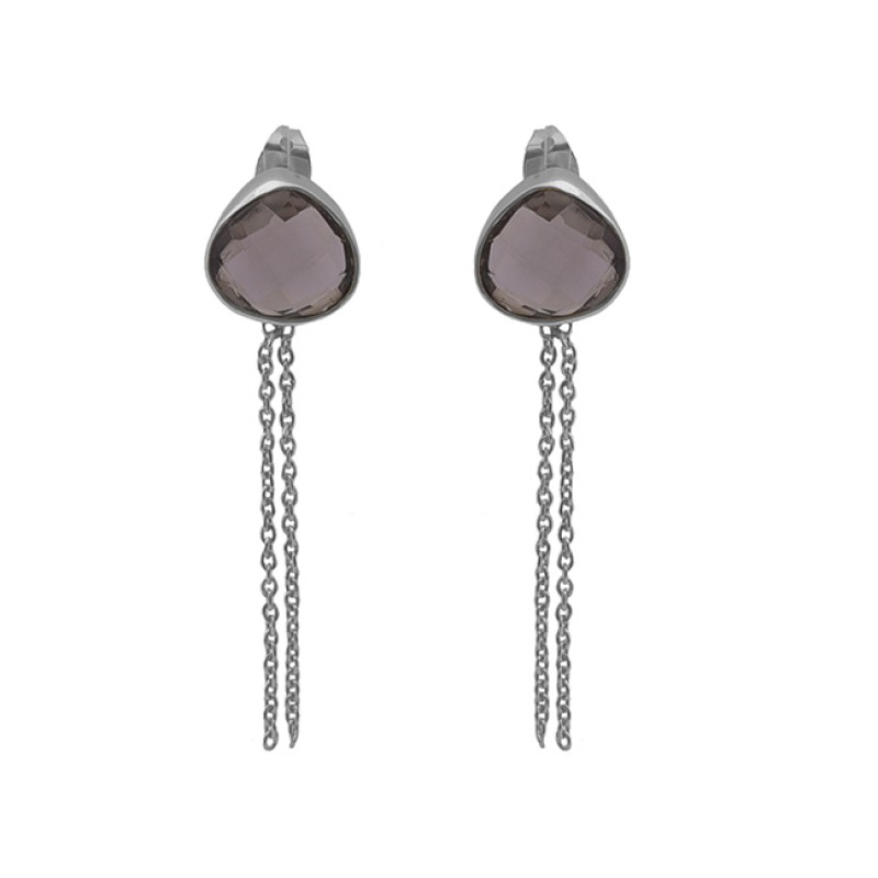 Smoky Quartz Gemstone 925 Sterling Silver Jewelry Chain Earrings