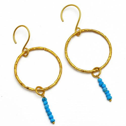 Faceted Roundel Beads Turquoise Gemstone Hammered Designer Gold Plated Earrings
