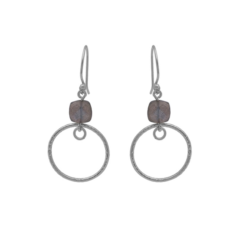 Cushion Shape Labradorite Gemstone 925 Silver Jewelry Earrings