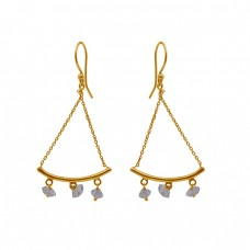 Herkimer Gemstone 925 Sterling Silver Jewelry Gold Plated Earrings