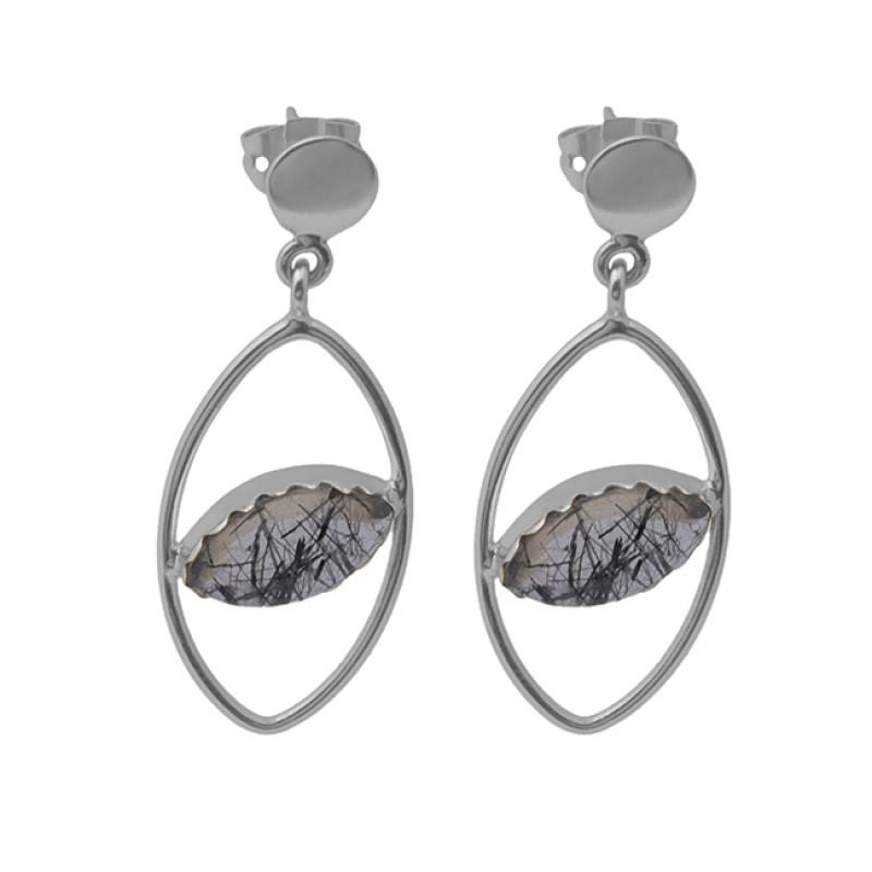 Black Rutile Quartz Gemstone 925 Sterling Silver Jewelry Stud Earrings