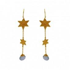 925 Silver Jewelry Heart Shape Gemstone Gold Plated Earrings