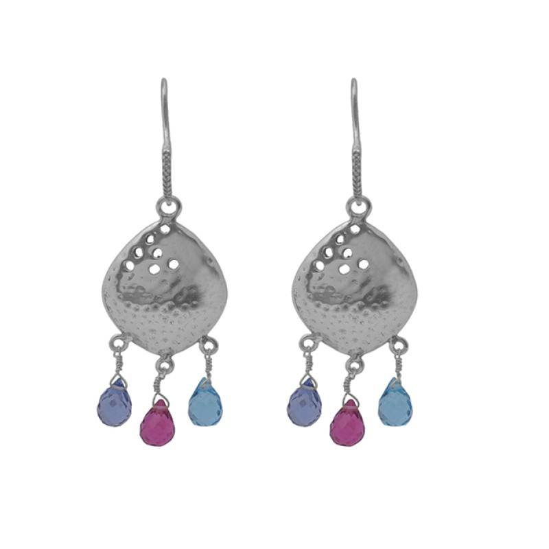 925 Sterling Silver Jewelry Drops Shape Gemstone Gold Plated Earrings