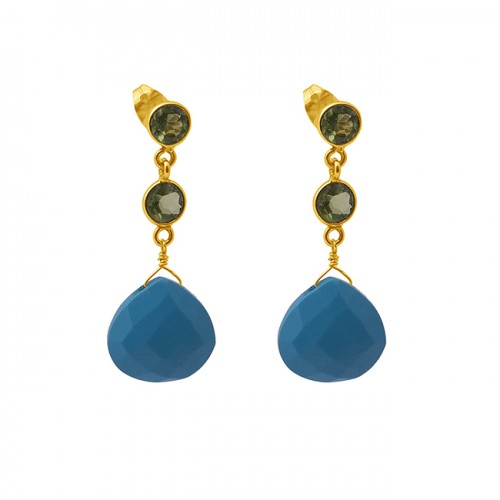 Turquoise Peridot Gemstone 925 Sterling Silver Jewelry Earrings