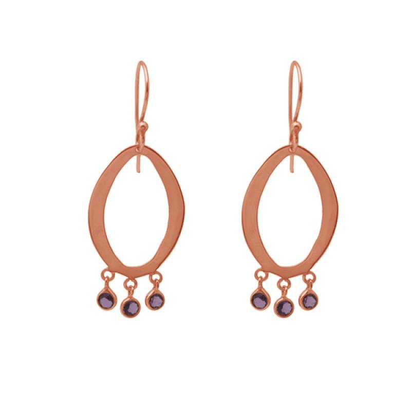 Round Shape Tourmaline Gemstone 925 Silver Jewelry Ear Wire Earrings