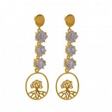 925 Sterling Silver Jewelry Herkimer Diamond Gemstone Stud Earrings